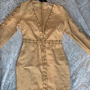 Tan/gold bandage dress